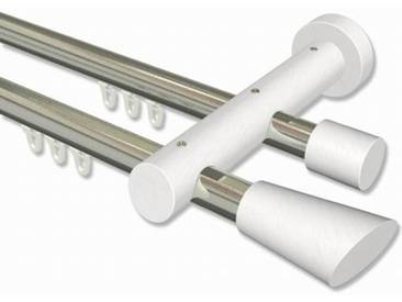 Innenlauf-Vorhangstange Edelstahl-Optik / Weiß 20 mm zweiläufig Talent Bero Aluminium / Holz 120 cm