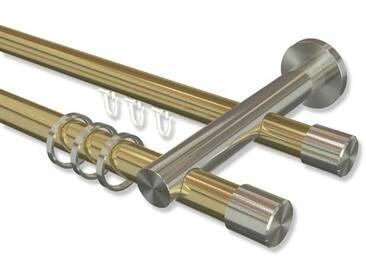 Gardinenstange mit Innenlauf-Rundrohr Messing-Optik / Edelstahl-Optik 20 mm Platon Santo, doppelläufig 100 cm
