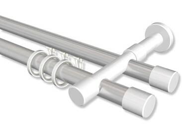 Rundrohr-Innenlauf-Gardinenstange Silbergrau / Weiß, Aluminium / Metall 20 mm Ø Prestige Santo 100 cm