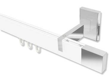 Innenlaufstangen / Gardinenstangen Weiß / Chrom eckig Smartline Lox 100 cm