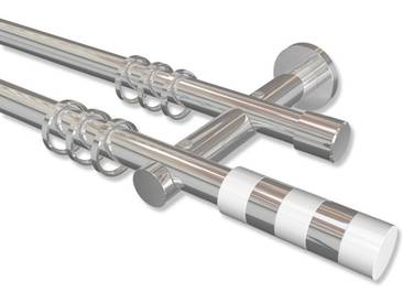 Vorhangstange Chrom, Metall 20 mm Platon Mavell, 2-läufig 100 cm