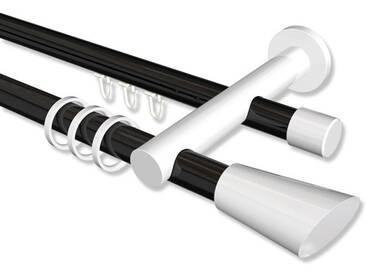 Rundrohr-Innenlauf-Gardinenstangen Schwarz / Weiß, Aluminium / Metall 20 mm Platon Bento, 2-läufig 100 cm