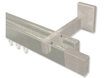 Innenlaufstangen / Gardinenstangen Eck-Design Edelstahl-Optik 2-läufig Smartline Lox 100 cm