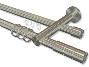 Gardinenstange Rundrohr / Innenlauf Edelstahl-Optik 20 mm Platon Elanto, doppelläufig 100 cm