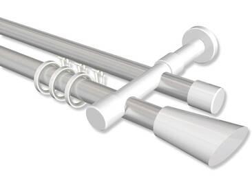 Rundrohr-Innenlaufstangen Silbergrau / Weiß, Aluminium / Metall 20 mm Ø Prestige Bento 100 cm