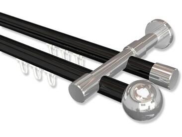 Innenlaufstangen Schwarz / Chrom, Metall 20 mm Ø Prestige Luino, 2-läufig 100 cm