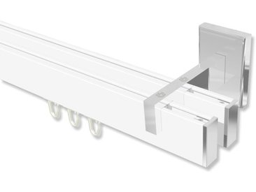 Innenlaufstangen / Gardinenstangen Weiß / Chrom 2-läufig eckig Smartline Paxo 100 cm