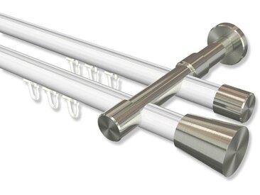 Innenlaufstange Weiß / Edelstahl-Optik, Metall 20 mm Ø Prestige Sitra, zweiläufig 100 cm