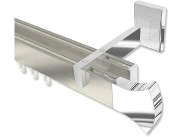 Innenlauf-Gardinenstange Edelstahl-Optik / Chrom zweiläufig Eckdesign Smartline Conex 100 cm