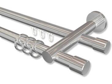 Rundrohr-Innenlauf-Gardinenstange Chrom, Aluminium / Metall 20 mm Platon Santo, 2-läufig 100 cm