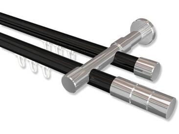 Innenlauf-Gardinenstangen Schwarz / Chrom, Metall 20 mm Ø Prestige Elanto, doppelläufig 100 cm
