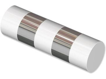 Endstücke Mavell (Zylinder Bicolor) Weiß / Chrom für 20 mm Gardinenstangen (Set 2 Stück)