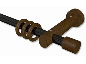 Gardinenstange Schwarz / Nussbaum 20 mm Talena Feta Metall / Holz 100 cm