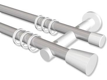 Vorhangstange Silbergrau / Weiß, Metall 20 mm Ø Platon Sitra, doppelläufig 100 cm