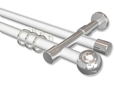 Rundrohr-Innenlauf-Gardinenstangen Weiß / Chrom, Aluminium / Metall 20 mm Ø Prestige Luino 100 cm