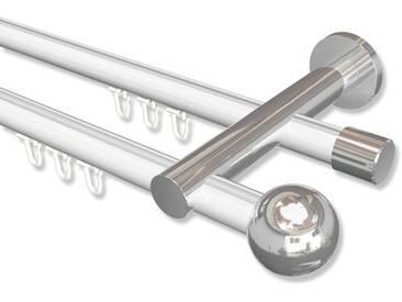 Innenlauf-Gardinenstangen Weiß / Chrom, Metall 20 mm Ø Platon Luino, doppelläufig 100 cm