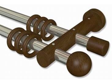 Gardinenstange Edelstahl-Optik / Nussbaum 20 mm zweiläufig Talena Luina Metall / Holz 100 cm