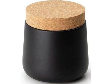 Vorratsdose, Keramik, Kork, 14x14,5 cm, schwarz, H, lebensmittelecht, , , Continenta
