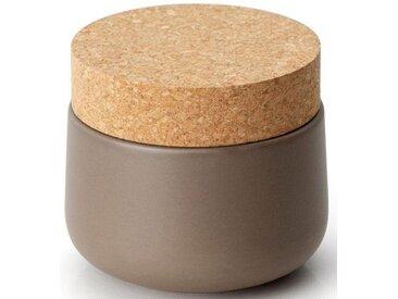 Vorratsdose, Keramik, Kork, 10,5 x 15 cm, grau, H, lebensmittelecht, , , Continenta