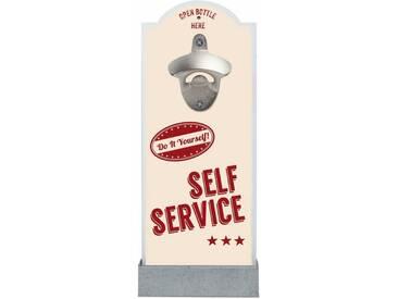 Wand-Flaschenöffner , bunt, »Self Service«, Contento