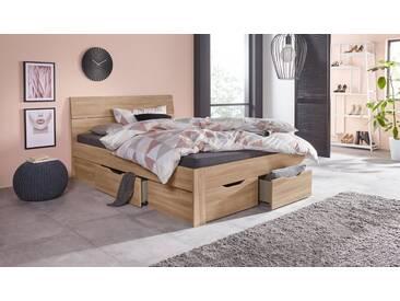 PACK´S Möbelwerke Stauraumbett »Flexx«, beige, 140x200cm, mit Schubkästen, rauch