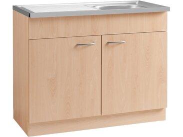 Spülenschrank »Kiel«, braun, Buchefarben, wiho Küchen