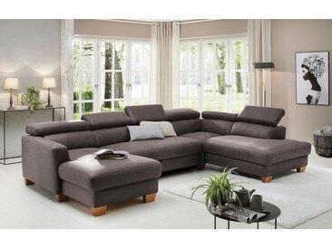 Home affaire Wohnlandschaft , grau, 326cm, Recamiere links, »Steve Luxus«, FSC®-zertifiziert