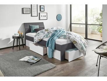 PACK´S Möbelwerke Stauraumbett , grau, 90x200cm, »Flexx«, mit Schubkästen, rauch