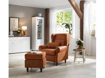 Home affaire Ohrensessel inklusive Hocker in Karostoff oder Luxusmicrofaser Vintageoptik »Eric«, braun, FSC®-zertifiziert