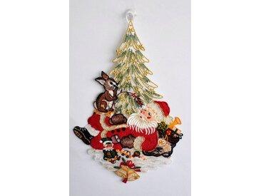 Fensteraufkleber , bunt, »Weihnachtsmann«, Stickereien Plauen
