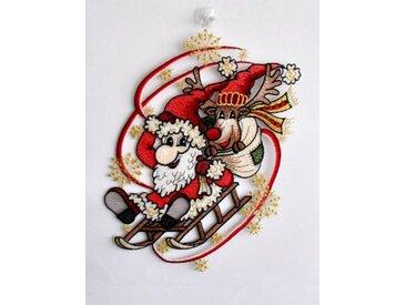Fensteraufkleber , bunt, »Weihnachtsmann mit Schlitten«, Stickereien Plauen