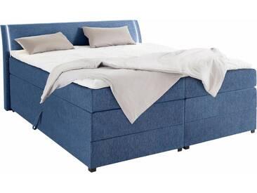 Boxspringbett mit Bettkasten und LED-Beleuchtung, blau, 160x200cm, Härtegrad 2, , , Härtegrad 2, Breckle