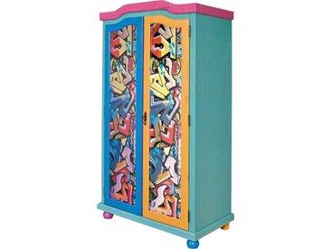 Home affaire Kinderkleiderschrank mit tollem Farbdesign, bunt, FSC-Zertifikat, »Genffiti«, , , FSC®-zertifiziert