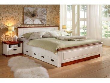 Home affaire Massivholzbett , weiß, 180x200cm, Landhaus-Stil, »Madrid«, , , FSC®-zertifiziert