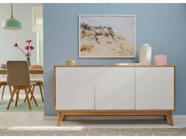 GMK Home & Living Großes Sideboard weiß, », im modernen, skandinavischen Design, Breite/Höhe 158/80 cm«, pflegeleichte Oberfläche, Push to open-Funktion, FSC®-zertifiziert, Guido Maria Kretschmer Home&Living