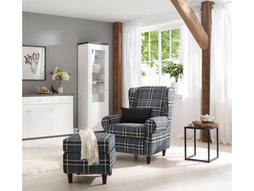 Home affaire Ohrensessel inklusive Hocker in Karostoff oder Luxusmicrofaser Vintageoptik, blau, »Eric«, FSC®-zertifiziert