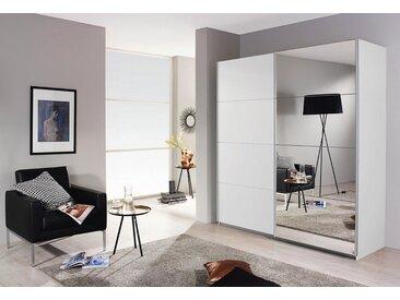 Schwebetüren-Schrank , weiß, Front mit 1 Tür im Holzdekor und 1 Spiegeltür, B x H x T, »Subito«, rauch