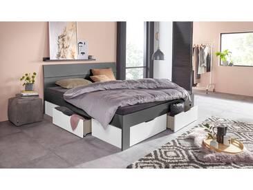 PACK´S Möbelwerke Stauraumbett »Flexx«, grau, 180x200cm, mit Schubkästen, rauch