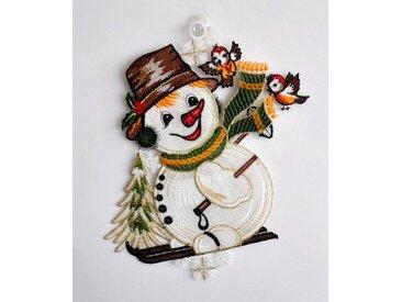 Fensteraufkleber , bunt, »Schneemann mit Schal«, Stickereien Plauen