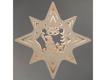 LED Fensteraufkleber , beige, »Schneemann«, FSC®-zertifiziert, Weigla