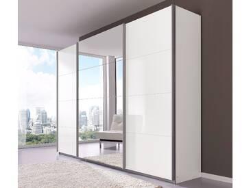 PACK´S Schwebetürenschrank »Imposa« weiß, Breite 136 cm, mit Spiegel, Hochglanz, rauch