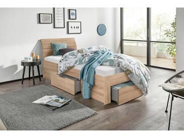 PACK´S Möbelwerke Stauraumbett »Flexx«, beige, 90x200cm, mit Schubkästen, rauch