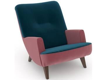 build-a-chair Loungesessel »Borano« grün, Füße: Nussbaumfarben, Korpus: Samtvelours rosé, FSC®-zertifiziert, Max Winzer®