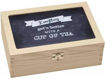 Teebox , braun, L/B/H, »Everything gets better with a cup of tea«, Contento