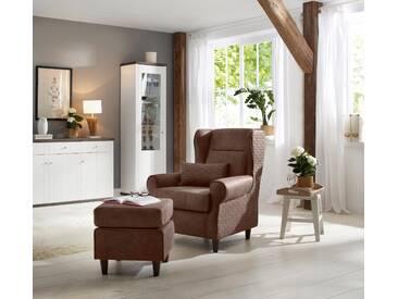 Home affaire Ohrensessel inklusive Hocker in Karostoff oder Luxusmicrofaser Vintageoptik, braun, »Eric«, FSC®-zertifiziert