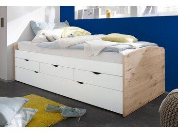 Funktionsbett mit 2. Schlafgelegenheit, beige, Liegeflächen 90/200cm, mit Schubkästen,