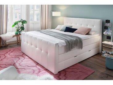 Boxspringbett, weiß, 180x200 cm, Kunstleder, H2, , , Härtegrad 2, meise.möbel