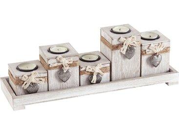 Teelicht-Halter, weiß, 39x12x13cm,