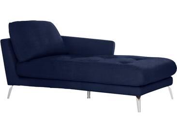 Chaiselongue mit Heftung »softy«, blau, Armlehne rechts, W.SCHILLIG