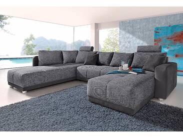 Wohnlandschaft mit Federkern und Bettfunktion, grau, FSC®-zertifiziert, inklusive loser Zier- und Rückenkissen, Places of Style
